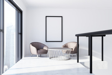 Two armchairs in a white room, poster