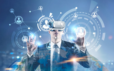 Businessman in VR glasses, HUD, blue