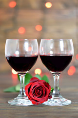 Valentines Day rose and red wine