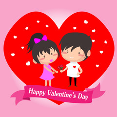 Boy and Girl love for Valentine's day.on  Happy valentine's day and Love pink background design for valentine's festival .Vector illustration.Cartoon style.