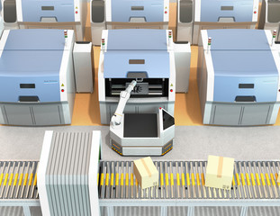AGV (Automatic guided vehicle) picking parts from metal 3D printer. Smart factory concept  3D rendering image.
