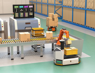 Robotic arm picking parcel from conveyor to to AGV (Automatic guided vehicle). Monitor of the manufacture line showing lines' process information. 3D rendering image.