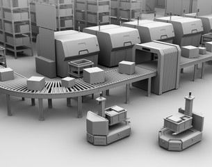 Clay model rendering of a self driving forklift AGV (Automatic guided vehicle) near conveyor.  3D rendering image.