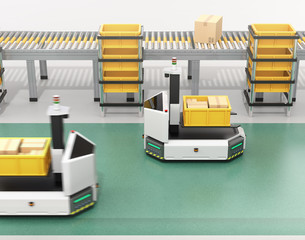 Self driving AGV (Automatic guided vehicle) with forklift carrying container box near to conveyor. 3D rendering image.