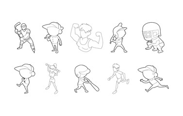 Sport people icon set, outline style