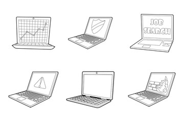 Laptop icon set, outline style