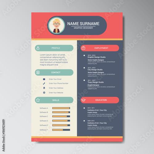 unique flat color curriculum vitae design template with photo or