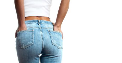 Female bottom in tight jeans