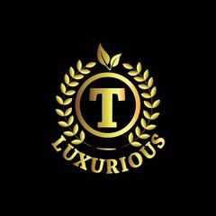 T Luxurious Logo Gold Vector Template Design