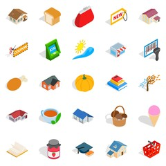 Cute icons set, isometric style