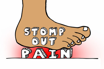 Stomp Out Pain Foot Smashing Words Therapy Cure 3d Illustration