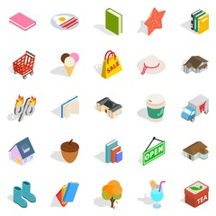 Sale of label icons set, isometric style