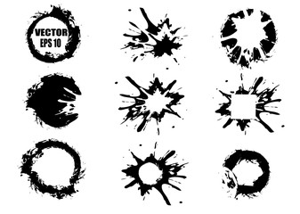 Set of black hand-painted blots, on white background and ink splatter. Vector and abstract elements for design in grunge style.