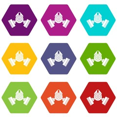 Gas mask icon set color hexahedron