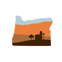 Oregon State Shape with Farm at Sunset w Windmill, Barn, and a Tree