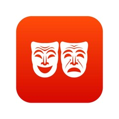 Happy and sad mask icon digital red