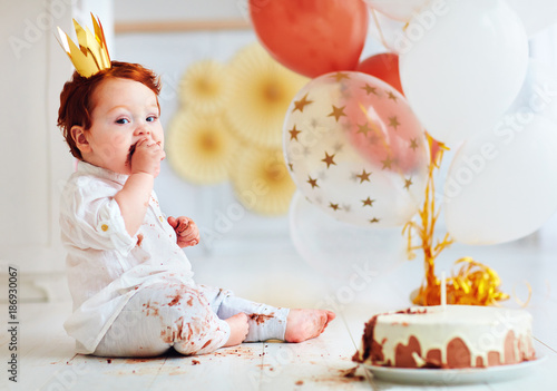Funny Infant Baby Boy Tasting His 1st Birthday Cake