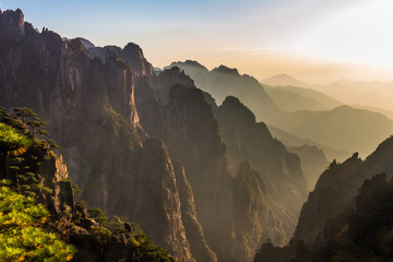 Sunset from the Cloud dispelling Pavilion on Mt Huangshan Yellow Mountain), Anhui, China. Mt Huangshan is one of the most famous  of China and has inspired hundreds of poets and painters