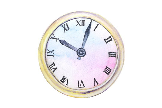 watercolor old clock abstract isolated on white background