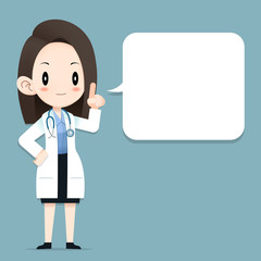 Female doctor tiny character blank talk balloon