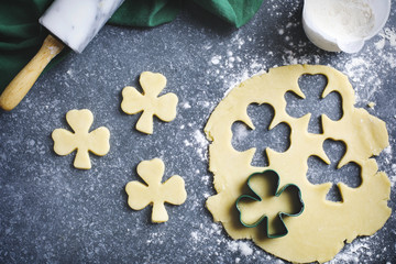 Baking St. Patrick's Day cookies.