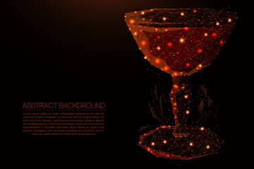 cocktail composed of polygon. Low poly vector illustration of a starry sky or Comos. The digital flyer consists of lines, dots and shapes. Wireframe technology light connection structure