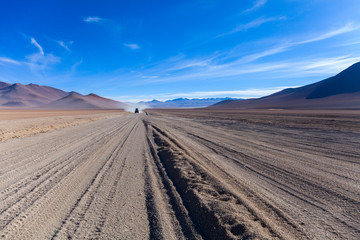 The Car Trails in the Middle of the Desert, Bolivia, South America