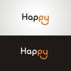 "Text ""Happy"" on white and black background"