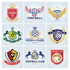 Football logo set,football college ,soccer logo,vector logo template