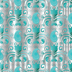 Paisley seamless pattern. Vector silver floral background with patterned paisley flowers, swirls, dots, curve lines, vintage elegance 3d ornaments. Luxury surface design for wallpapers, fabric, prints