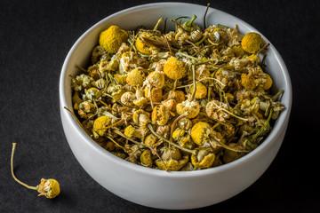 chamomile in a white bowl