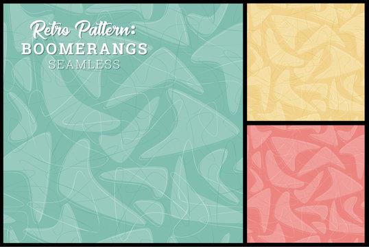 Retro Boomerang Seamless Pattern 3 retro colors