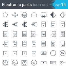 Electric and electronic circuit diagram symbols set of electrical instrumentation, meters, recorders, counters, integrators, registrars, clocks and timers