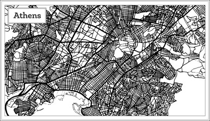 Athens Greece Map in Black and White Color.