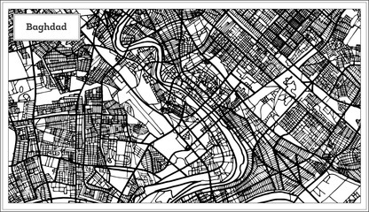 Baghdad Iraq City Map in Black and White Color.