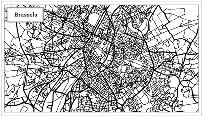 Brussels Belgium Map in Black and White Color.