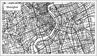 Shanghai China City Map in Black and White Color.