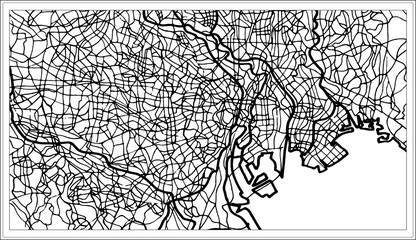 Tokyo Japan City Map in Black and White Color.