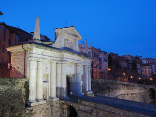 Bergamo - Old city. One of the beautiful city in Italy. Lombardia. Landscape on the old gate named Porta San Giacomo during the night. Venetian walls of Bergamo