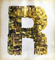 golden letter uppercase R