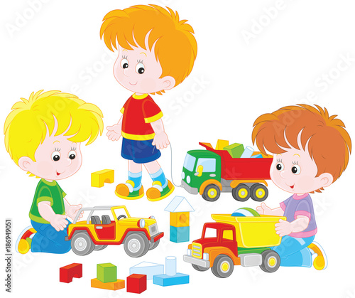 Boys Sharing Toys : Quot little boys playing with toy cars and bricks a vector