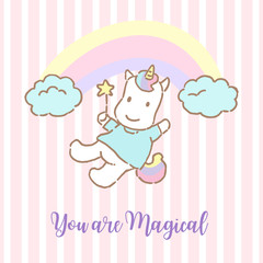 Cute unicorn in the sky with text you are magical. Vector Illustration