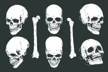 Hand drawn realistic human skulls and bones from different angles. Monochrome vector illustration on black background.