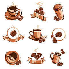 Coffee labels and icons set. Vector