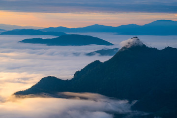 Beautiful sunrise scene at high mountain with yellow clouds and blue sky, Phu chi fah Chiangrai Thailand