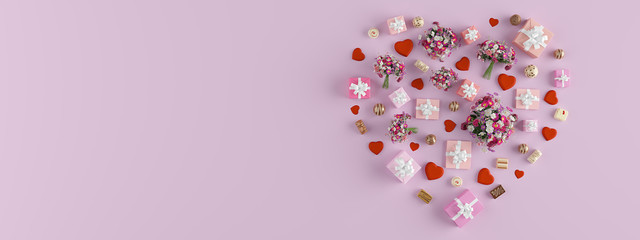3d rendering. shape of a heart with lots of presents. mothers day