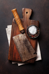Butcher. Vintage meat knife and spices
