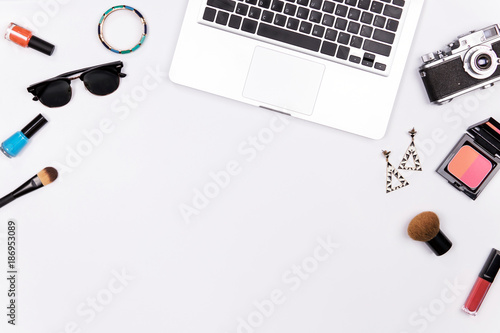 Fashion mockup with business lady accessories and laptop, vintage