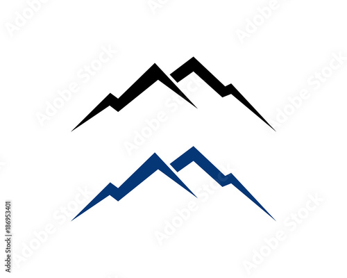 black and blue simple line art mountain symbol vector. Black Bedroom Furniture Sets. Home Design Ideas