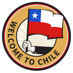 Chile country welcome sign or stamp
